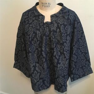 Venezia Blue Floral Print Gold Flake Denim Jacket
